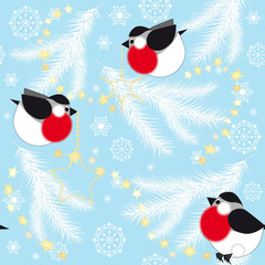 Blue Christmas background with fir branches and birds
