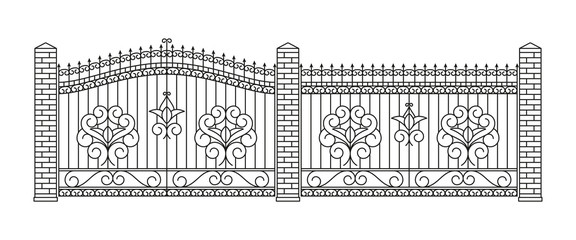 Forged gates and fences set.  Linear design. Vector outline illustration isolated on white.