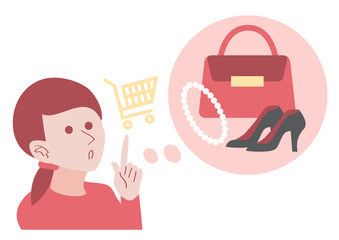 A woman think about shopping