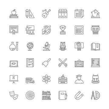 Line icons. School