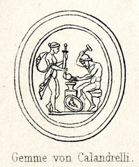 Engraved gem by Alexander Calandrelli - Thetis watching as Hephaestus makes armor for Achilles (from Meyers Lexikon, 1895, 7/286-7)
