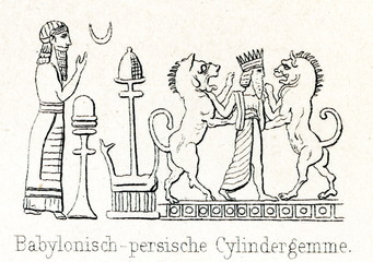 Babylonian-Persian cylinder seal - priest sacrifices and two lions guarded king;.ca. 600 BC (from Meyers Lexikon, 1895, 7/286-7)