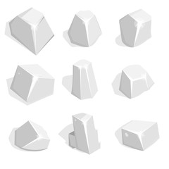 Vector set of silver ore or boulders. Isometric 2D game UI Templ