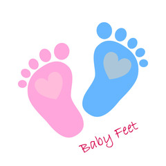 Baby footprints - vector illustration.