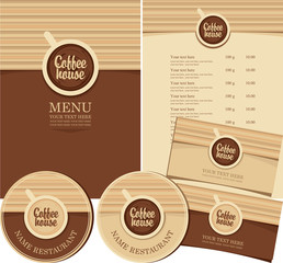 set of design elements for coffee house with cup