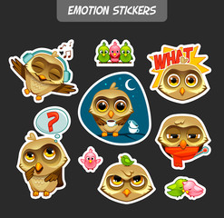 Emotion stickers. Owl's life