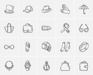 Accessories sketch icon set.
