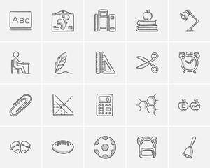 Education sketch icon set.
