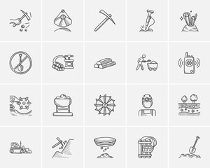 Mining industry sketch icon set.