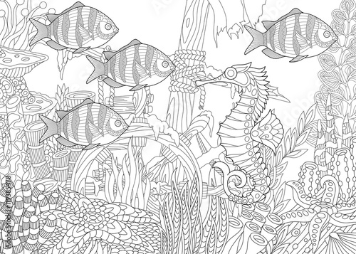 Stylized Composition Of Tropical Fish Seahorse Underwater Seaweed Corals And Starfish Freehand