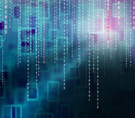 Conceptual password matrix binary code background. Safety computing falling binary code on pattern illustration background.
