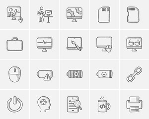 Technology sketch icon set.