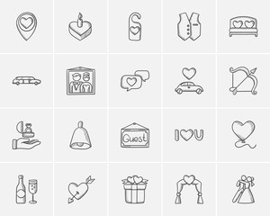 Wedding sketch icon set.