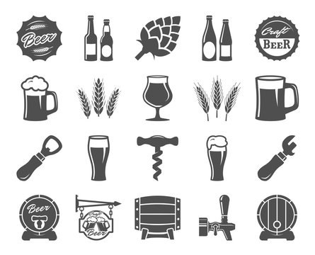 beer, brewing, ingredients, consumer culture. set of black icons
