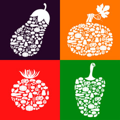Vegetables of vegetables icon set color