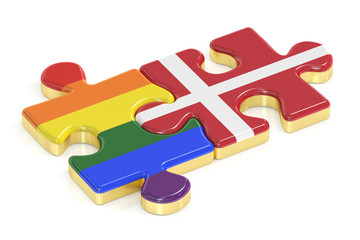 Gay Pride Rainbow and Denmark puzzles from flags, 3D rendering