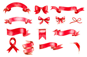 set of hand painted red watercolor ribbons and bows
