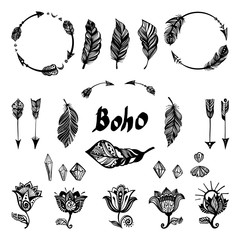 Set of boho elements.