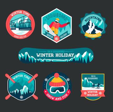 Set of ski and snowboard badges