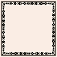 Greek style seamless ornament with corner element. Black pattern on a beige background.