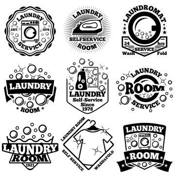 Set of Vector Laundry badges. With bubbles, laundromat, detergent