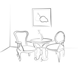 he sketch the room. Sketch parts of the room. Design a table and two chairs in the corner of the room.