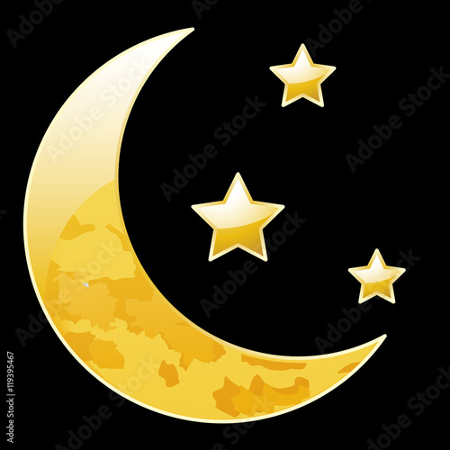 """Crescent moon with stars on a black background"" Stock ..."