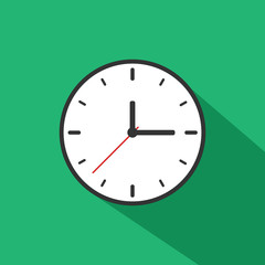 Clock Icon Long Shadow Illustration