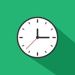 Clock Icon Long Shadow Illustration
