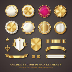 golden vector design elements - blank seals, medals, banners, badges, ribbons, crests/shields, scrolls and icons with transparent shadows