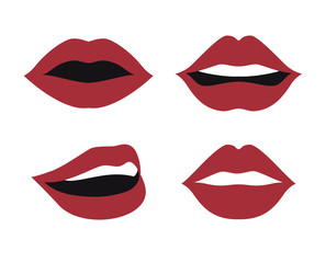 set lips female d icons vector illustration design