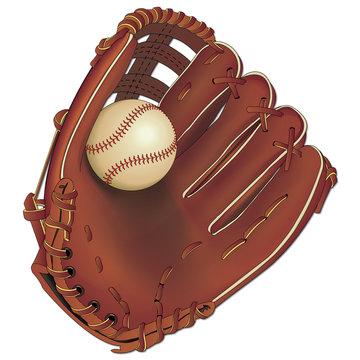Gant de base-ball et une balle.