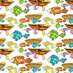 seamless pattern boat, fish, fishing.  illustration