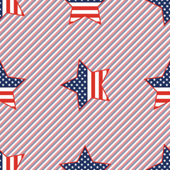 USA patriotic stars seamless pattern on red and blue stripes background. American patriotic wallpaper with USA patriotic stars. Wallpaper pattern vector illustration.
