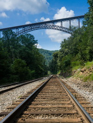Fototapete - Metal structure of the New River Gorge Bridge in West Virginia