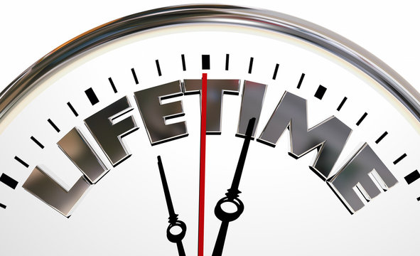 Lifetime Clock Experience Living Span Word 3d Illustration