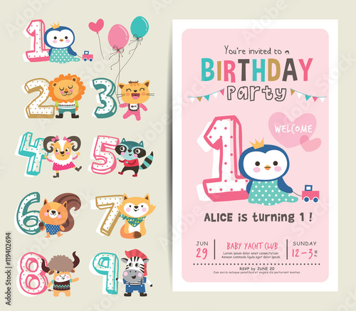 Birthday anniversary numbers with cute animals birthday party birthday anniversary numbers with cute animals birthday party invitation card template stopboris Image collections