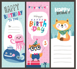 Set of birthday cards with cute animals