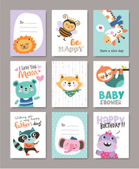 Set of greeting cards with cute animals