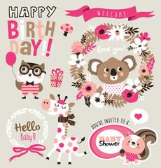 Birthday/ baby shower card design elements with cute cartoon animals
