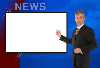 TV newscaster reporting w blank screen
