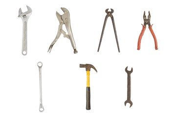 Image isolated set of old working tools. Clipping path