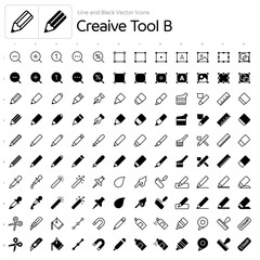 Line and Black Vector Icons - Creaive Tool B