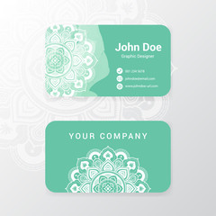 Lovely business name card template design with mandala flower and water color painting. vector illustration.