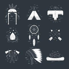 Native american vector elements concept