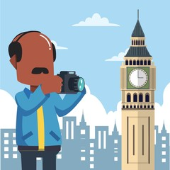 guy holding camera tour infront big ben england