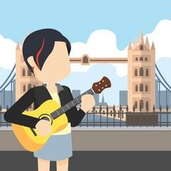 rocker girl holding guitar tour london bridge