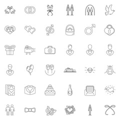 Wedding gay vector icons and elements in thin line style