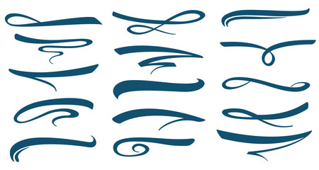 Vector marker stroke line lettering underlines collection