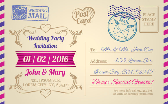 Vintage postcard vector template for wedding invitation, love letter, valentines day